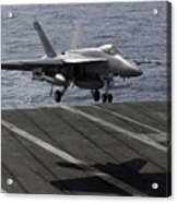 An Fa-18e Super Hornet Prepares To Land Acrylic Print by Stocktrek Images