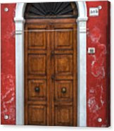 an old wooden door in Italy Acrylic Print by Joana Kruse