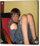 Angry Boy Pointing The Accusing Finger Acrylic Print by Christopher Purcell