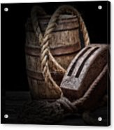 Antique Pulley And Barrel Acrylic Print by Tom Mc Nemar