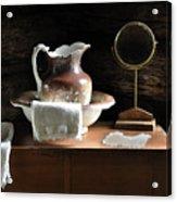 Antique Water Pitcher On Bureau Acrylic Print by Rebecca Brittain