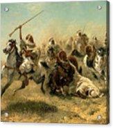 Arab Horsemen On The Attack Acrylic Print by Adolf Schreyer