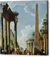 Architectural Capriccio With A Preacher In The Ruins Acrylic Print by Giovanni Paolo Pannini or Panini