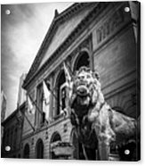 Art Institute Of Chicago Lion Statue In Black And White Acrylic Print by Paul Velgos