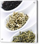 Assortment Of Dry Tea Leaves In Spoons Acrylic Print by Elena Elisseeva