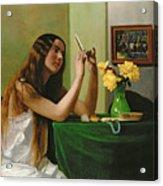 At The Dressing Table Acrylic Print by Felix Edouard Vallotton