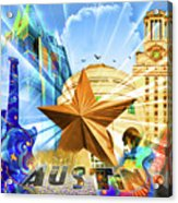 Atx Montage Acrylic Print by Andrew Nourse