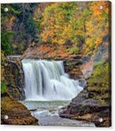 Autumn At The Lower Falls Acrylic Print by Rick Berk