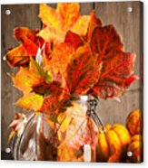 Autumn Leaves Still Life Acrylic Print by Amanda And Christopher Elwell