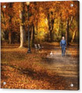 Autumn - People - A Walk In The Park Acrylic Print by Mike Savad