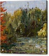 Autumn  Pond Acrylic Print by Nancy Albrecht