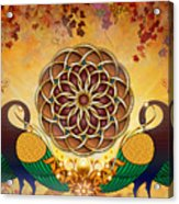 Autumn Serenade - Mandala Of The Two Peacocks Acrylic Print by Bedros Awak