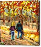 Autumn  Stroll On Mount Royal Acrylic Print by Carole Spandau