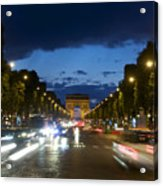 Avenue Des Champs Elysees. Paris Acrylic Print by Bernard Jaubert