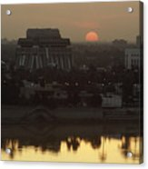 Baghdad And The Tigris River At Sunset Acrylic Print by Lynn Abercrombie