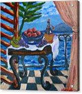 Balcony By The Mediterranean Sea Acrylic Print by Karon Melillo DeVega