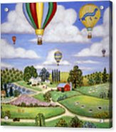 Ballooning In The Country One Acrylic Print by Linda Mears
