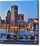 Baltimore Skyline Inner Harbor Panorama At Dusk Acrylic Print by Jon Holiday