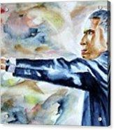 Barack Obama Commander In Chief Acrylic Print by Brian Degnon