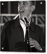 Barack Obama In Cleveland Acrylic Print by Brian M Lumley