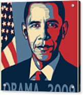Barack Obama Presidential Poster Acrylic Print by Sue  Brehant