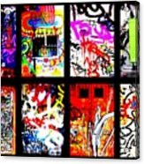 Barcelona Doors ... All Graffiti Acrylic Print by Funkpix Photo Hunter