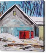 Barnyard In Winter Acrylic Print by John Williams