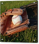 Baseball Gloves After The Game Acrylic Print by Anna Lisa Yoder
