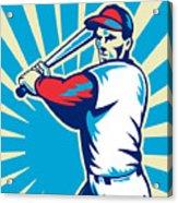 Baseball Player Batting Retro Acrylic Print by Aloysius Patrimonio