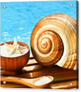 Bath Salts And Sea Shell By The Pool Acrylic Print by Sandra Cunningham