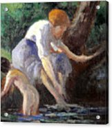 Bathing Acrylic Print by Maximilien Luce