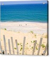 beach fence and ocean Cape Cod Acrylic Print by Matt Suess