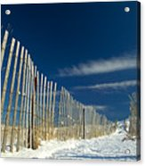 Beach Fence And Snow Acrylic Print by Matt Suess