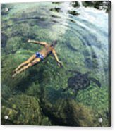 Beautiful Man And Turtle Acrylic Print by Brandon Tabiolo - Printscapes