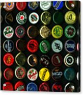 Beer Bottle Caps . 9 To 16 Proportion Acrylic Print by Wingsdomain Art and Photography