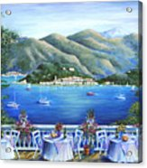 Bellagio From The Cafe Acrylic Print by Marilyn Dunlap
