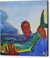 Ben And The Dolphin Fish Acrylic Print by Kathy Braud
