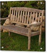 Bench With Stone Acrylic Print by Richard Mansfield