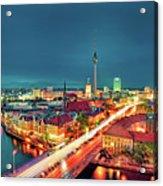 Berlin City At Night Acrylic Print by Matthias Haker Photography