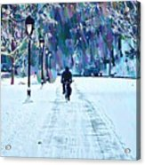 Bike Riding In The Snow Acrylic Print by Bill Cannon