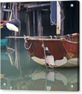 Bird On Boat Oar - Hong Kong Acrylic Print by Gordon Wood