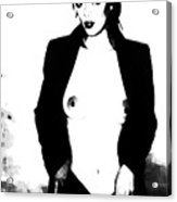Black And White Subway Suited Siren Acrylic Print by Leonard Rosenfield