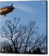 Blimp Over Wingfoot Acrylic Print by Tim Fitzwater