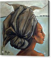 Blue And Black Bead Headdress Acrylic Print by Jacque Hudson