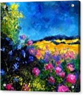 Blue And Pink Flowers Acrylic Print by Pol Ledent