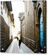 Blue Door In Cusco Acrylic Print by Darcy Michaelchuk