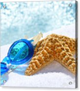 Blue Goggles On A White Towel  Acrylic Print by Sandra Cunningham