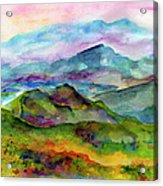 Blue Ridge Mountains Georgia Landscape  Watercolor  Acrylic Print by Ginette Callaway
