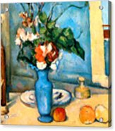 Blue Vase By Paul Cezanne Acrylic Print by Pg Reproductions