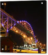 Blue Water Bridge At Night Acrylic Print by Paul Bartoszek